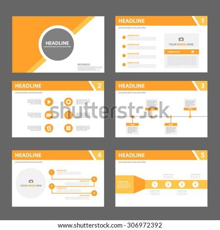 orange multipurpose presentation template flat design のベクター