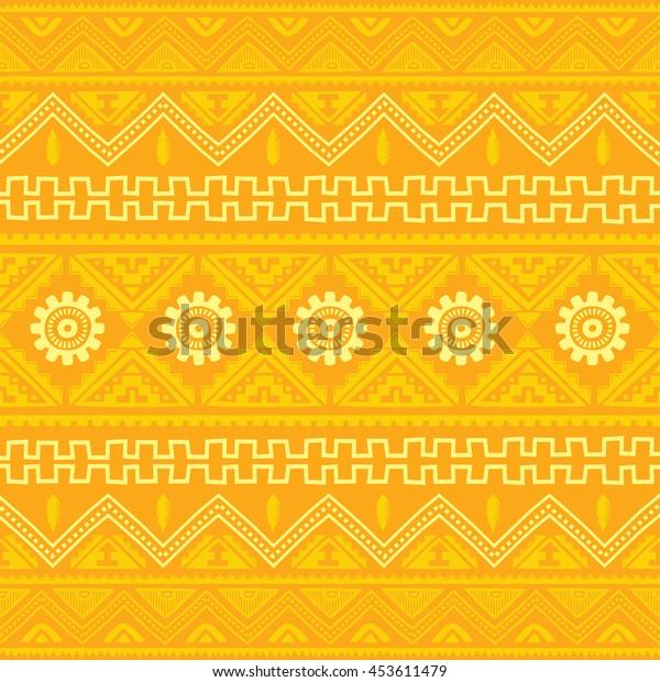 orange native american ethnic pattern theme vector art