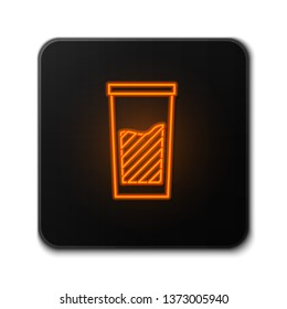 Orange neon sign on dark backgraund Water glass icon. Soda glass vector illustration.