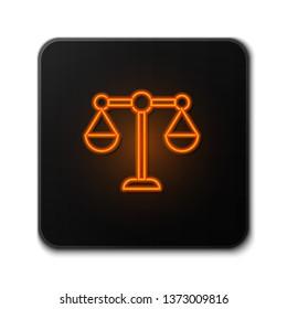 Orange neon sign on dark backgraund Libra, scale icon. Price comparison symbol.