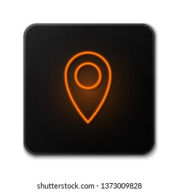 Orange neon sign on dark backgraund Maps pin. Location pin. Location map icon.