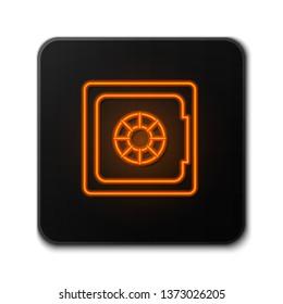 Orange neon sign on dark backgraund Money safe vector icon. Security concept
