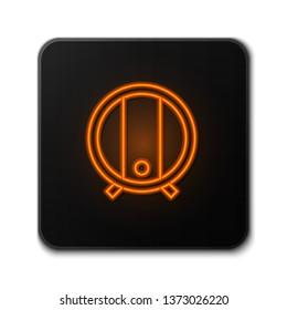 Orange neon sign on dark backgraund Barrel of beer icon. Bar concept