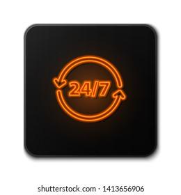 Orange neon sign on dark background  Twenty four hour icon. Time symbol