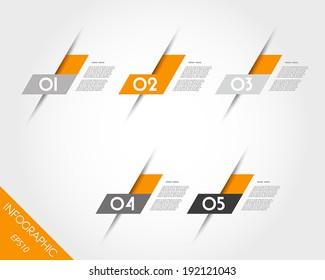 orange oblique L stickers. infographic concept.