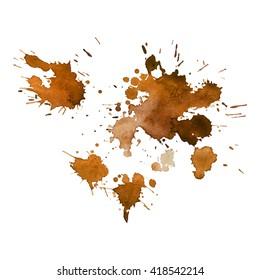 Orange ocher coffee watercolor spot. Vector illustration. Grunge element for design banner