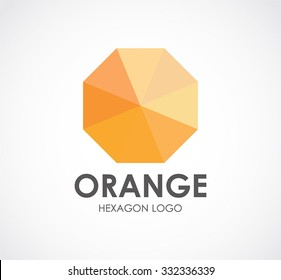 Orange octagonal stone abstract vector and logo design or template luxury polygon business icon of company identity symbol concept