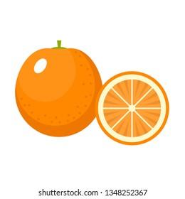 Orange on a white background isolated. Vector illustration