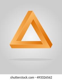 Orange optical illusion triangle, infinity loop