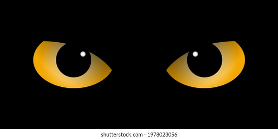 Orange owl or cat eyes for Halloween party. Eyes of cats are in darkness. Flat vector pictogram. Eyes sparkle in the dark, animal concept. cartoon eyes icon. Kitty silhouette