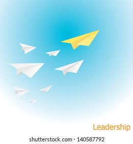 orange paper airplane with white paper airplanes behind in blue sky. concept of growth or leadership. business metaphor. vector illustration