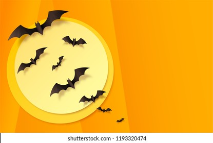Orange paper background with black bats on yellow moon. Vector Halloween greeting card background.