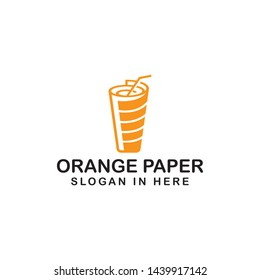 orange paper drink glass logo icon for news platform company or another