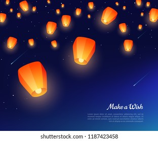 Orange paper lanterns floating at night in starry sky. Vector illustration. Traditional design elements for Chinese New Year or Mid Autumn Festival.