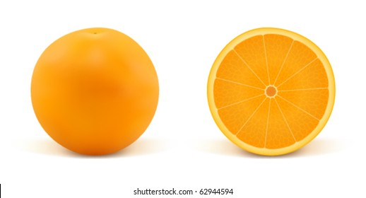 Orange and part of orange on a white background