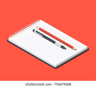Orange pencil and ballpoint pen on top of the open notepad. Isometric vector illustration