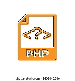Orange PHP file document icon. Download php button icon isolated on white background. PHP file symbol. Vector Illustration