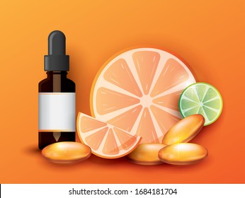 Orange pill or capsule filled with vitamin C and Skin with lemon slice of pieces isolated on  background