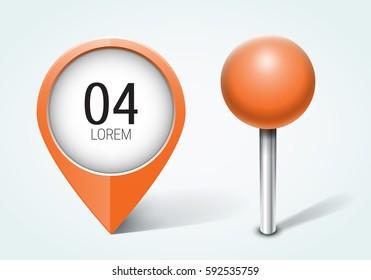 Orange pin / Map pointer / Location  icon. Concept of route, landmark, adventure, explore. Vector illustration.