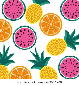 orange pineapple and watermelon fruit seamless pattern