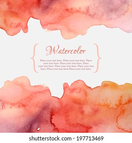 Orange and pink abstract pastel watercolor frame