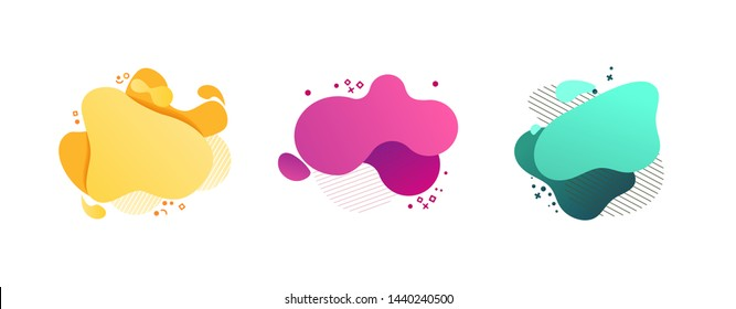Orange, pink, blue geometric abstract elements set. Dynamical colored forms and lines. Flowing shapes banners. Template for design of logo, flyer, presentation, vector illustration