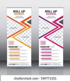 Orange and Pink roll up banner template design vector, brochure flyer background, modern x-banner, corporate vertical banner, Pull up banners, flag-banner, layout in rectangle size.