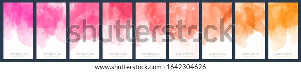 orange pink watercolor set of light purple red and orange gradient vector watercolor vertical backgrounds for poster banner or flyer orange pink watercolor color colour water white kid star rainbow te