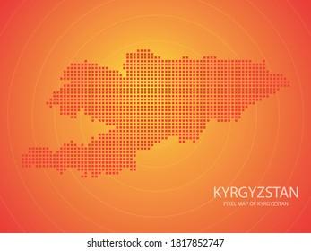 Orange pixel map of kyrgyzstan on orange background. Vector illustration.