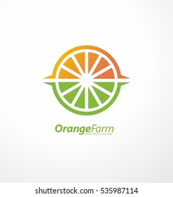 Orange plantation creative logo design concept with slice of orange, plant fields and sun shape in negative space. Vector illustration. Farm fresh fruits symbol template.
