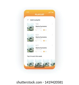 Orange playlist UI, UX, GUI screen for mobile apps design. Modern responsive user interface design of mobile applications including Music screen with add music function