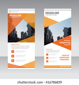 Orange polygon Business Roll Up Banner flat design template ,Abstract Geometric banner Vector illustration set