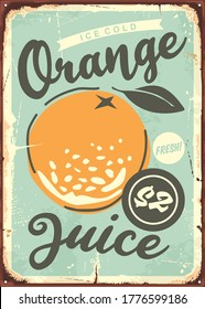 Orange poster design with juicy orange in the middle. Vector illustration.