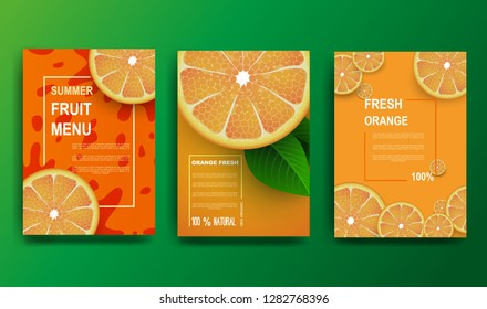 Orange poster. Sliced slices of orange with leaves. Fruit pattern for brochure, layout design, banner, cover, flyer. Vector illustration.