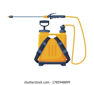 Orange Pressure Sprayer of Chemical Insecticide, Pest Control and Extermination Service Equipment Vector Illustration on White Background
