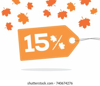 Orange price tag label with 15% text designed with an autumn maple leaf and stick branch percent icon with shadow on white background with leaves. For autumn sale campaigns.