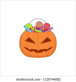 orange pumpkin bag with sweets for halloween on isolated background