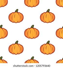 Orange pumpkin halloween pattern on white background. Pumpkin pattern for happy halloween holiday