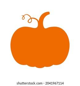 Orange pumpkin silhouette isolated on white background.