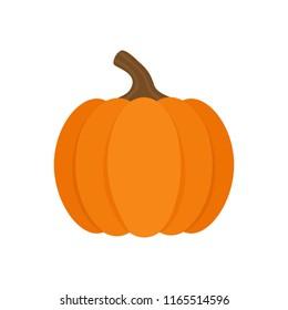 Orange pumpkin vector illustration. Autumn halloween or thanksgiving pumpkin, vegetable graphic icon or print, isolated.