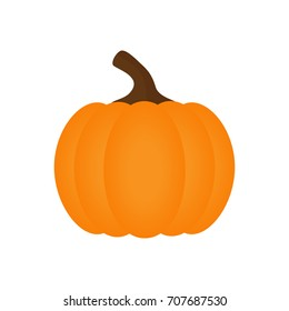 Orange pumpkin vector illustration. Autumn halloween pumpkin, vegetable graphic icon or print, isolated on white background.
