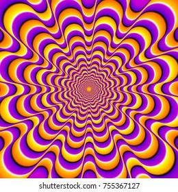Orange og lilla baggrund med gule spiraler. Optisk ekspansion illusion.