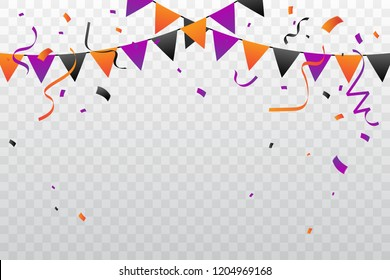 Orange And Purple Black Confetti With Ribbon Flags Falling On Background. Celebration Event & Birthday. Halloween Party color concept. Vector