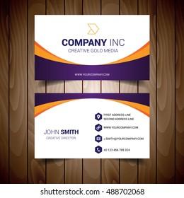 Orange And Purple Bordered White Business Card