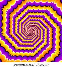 Orange, purple and yellow octagonal spirals. Optical expansion illusion.