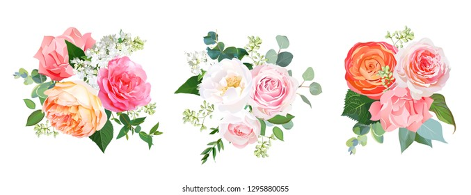 Orange ranunculus, pink rose, hydrangea, coral carnation, garden flowers, greenery and decorative plants vector bouquets. Living coral 2019 trendy color collection. Elements are isolated and editable