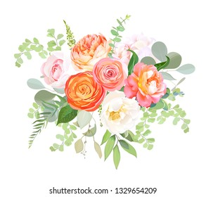 Orange ranunculus, pink rose, white hydrangea, juliet rose, garden flowers, eucalyptus, greenery and decorative plants vector bouquet. Coral trendy color. Elements are isolated and editable