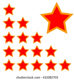orange rating stars with red