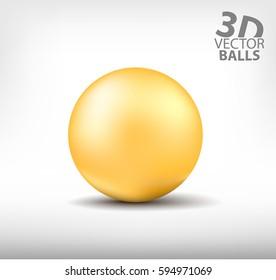 Orange realistic sphere single. 3D vector balls