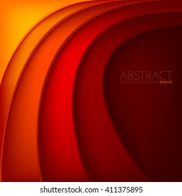 Orange and red background vector overlap paper layer curve line gradient color tone with space for text design